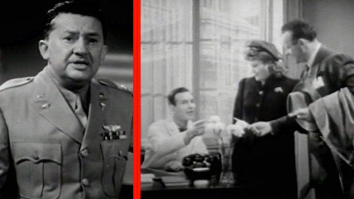 """I filmen """"To the People of the United States"""" fortæller den danske-fødte skuespiller Jean Hersholt om bekæmpelse af syfilis. Billede fra filmen udgivet af US Public Health Service i 1943."""