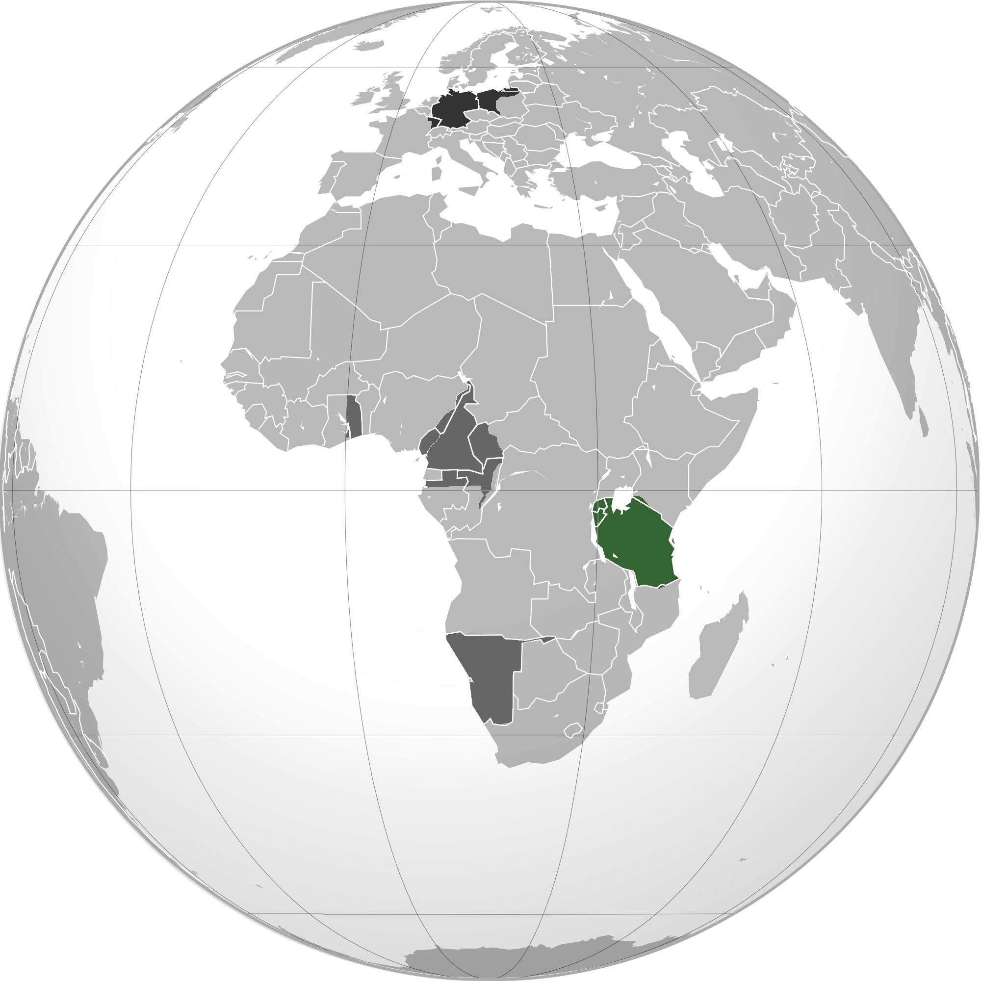 Tysk Østafrika er markeret med grønt, mens de andre tyske besiddelser i Afrika er markeret med gråt. Det Tyske Rige i Europa er sort. De markerede grænser er nutidige. Kort: Wikimedia/VoodooIsland (https://en.wikipedia.org/wiki/File:German_east_africa_map.png)