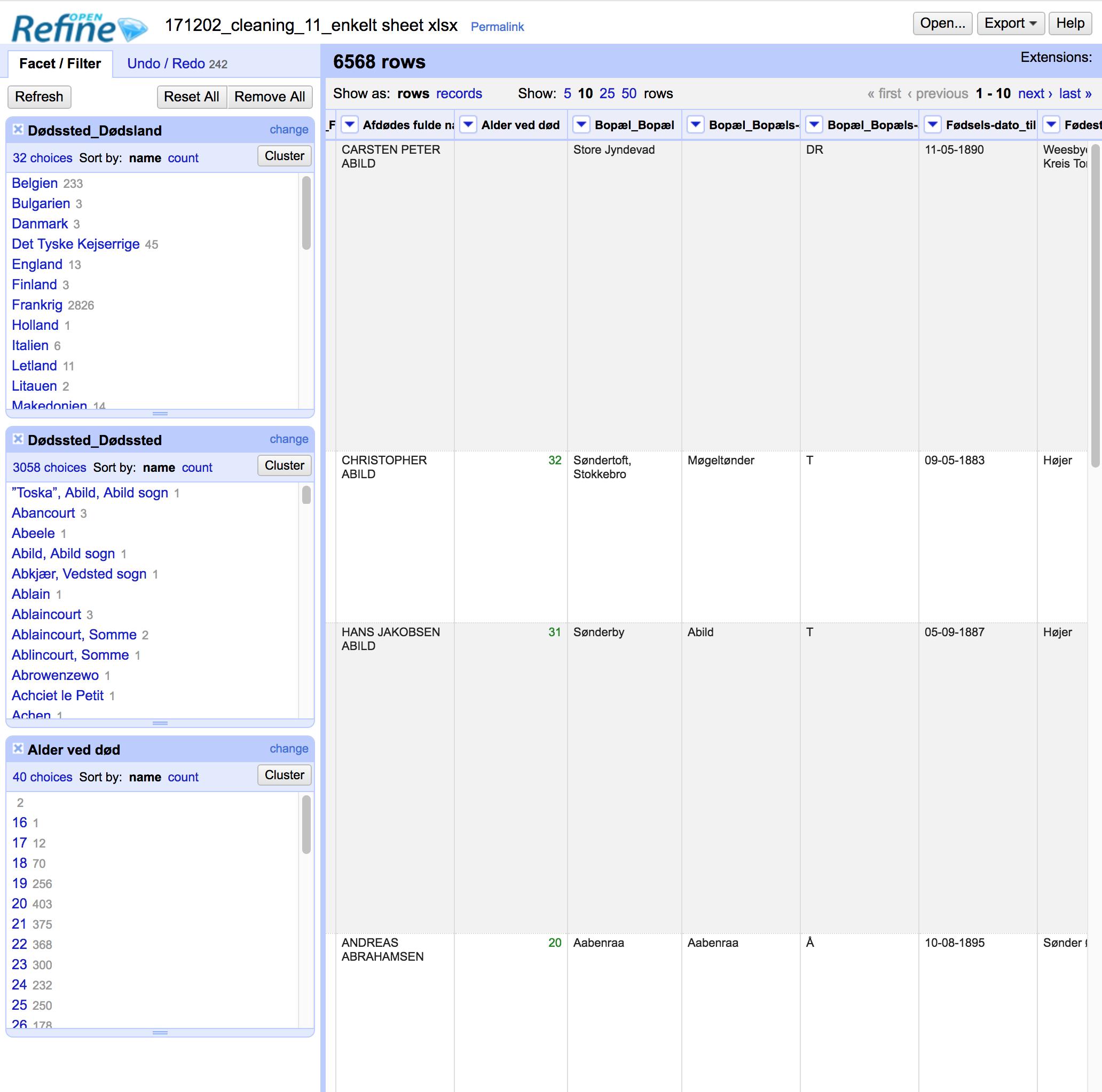 Vores gamle Danmark har især brugt programmerne OpenRefine og Microsoft Excel til at rense og analysere datasættet over faldne sønderjyder i 1. Verdenskrig. Her ses et billede fra førstnævnte program. Foto: Screenshot af Søren Kjær