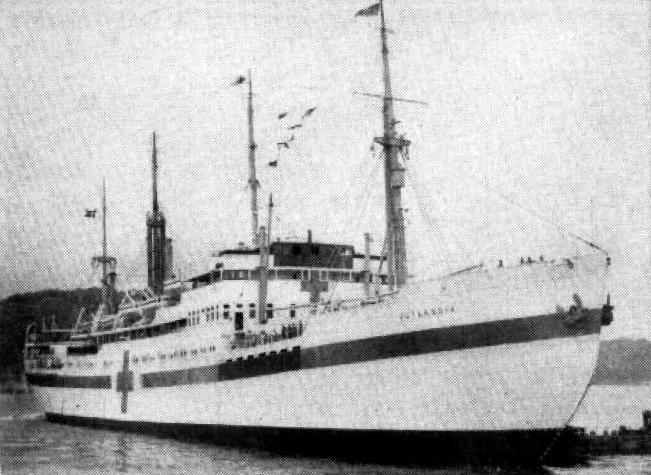 På billedet her ses det danske hospitalsskib Jutlandia i Korea i 1951. Fotokilde: U.S. Navy.